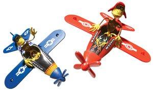 Red Barron Flying Ace Monkey Bender Tin Toy Plane NEW