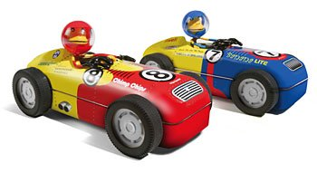 Red #8 Hot Rod Monkey Bender Toy Tin Race Slot Cars NEW