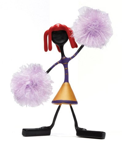 Hailey Red Head Cheerleader Bender Toy Pom Poms Tin NEW