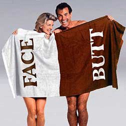 12 of The Original BUTT/FACE Towel GREAT Gag Gift Beach