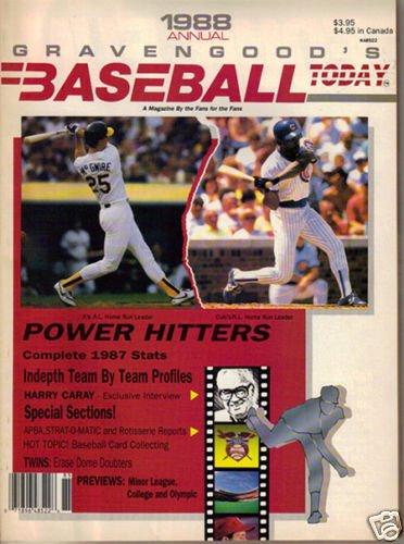 1988 Gravengood Baseball Today Yearbook Harry Caray