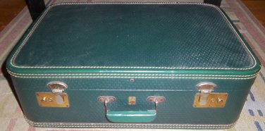 Vintage 1940s or 1950s Belber Neolite Green Suitcase Luggage Goodyear Tire