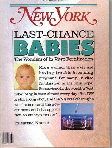 New York Magazine 8/12/1985 In Vitro Fertilization, Cecile Licad, Gary Thorne
