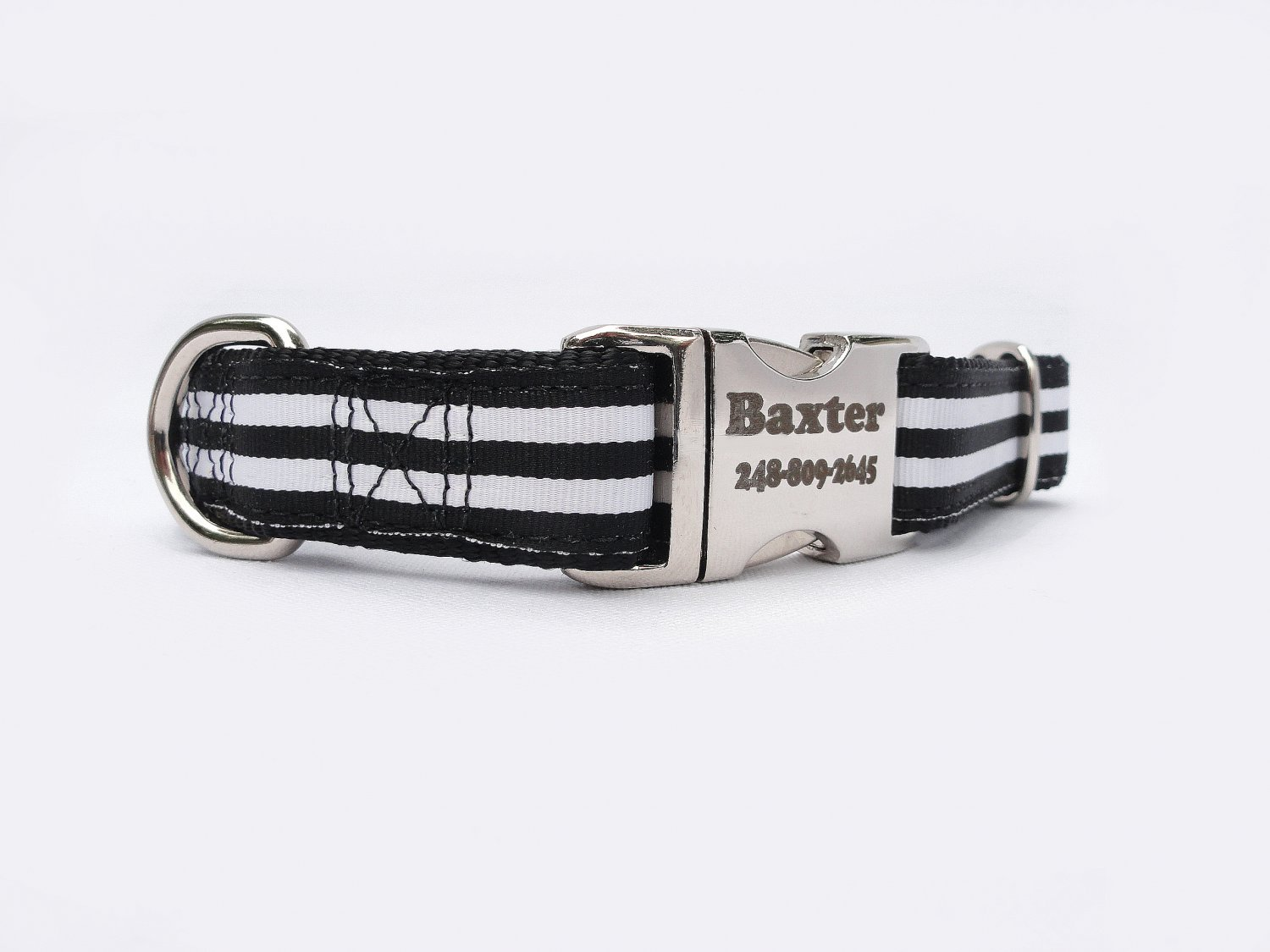 Laser Engraved Black and White Stripped Nylon Dog Collar 1 inch width by Ruggit Collars