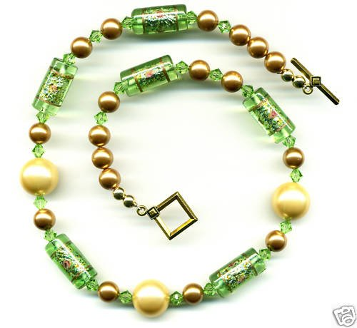 Green and Yellow Vintage Bead Necklace