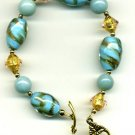 Turquoise vintage glass, gold glass bracelet