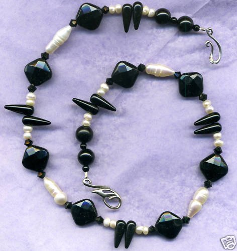 """Pearl and Onyx """"teeth"""" Necklace"""