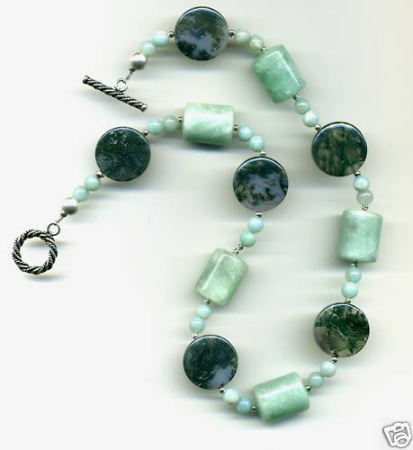 MInty Green Adventurine, Moss Agate Necklace