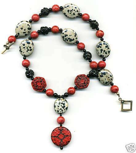 Dalmatian Jasper and Cinnabar Pendant