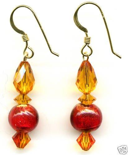 Topaz crystal and Venetian Glass Crystal Earrings