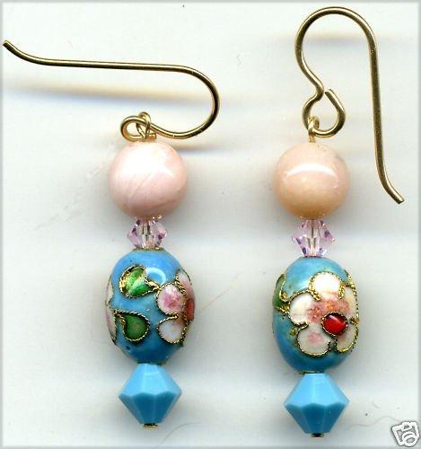 Rose Quartz and Vintage Cloisonne Earrings