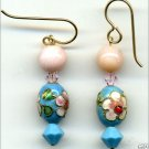 Rose Quartz and Vintage Cloisonne Earrings