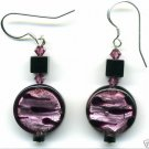 Stunning Round Purple and Black Glass and Onyx Earrings