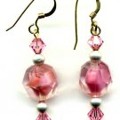 Pink German Givre Vintage Bead and Crystal Earrings