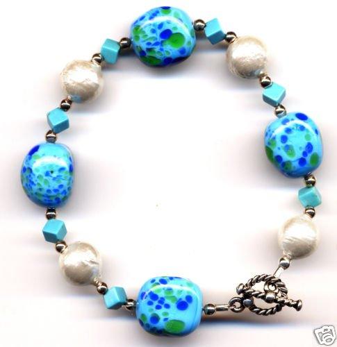 Vintage Bead, Turquoise, Japanese Cotton Pearl Bracelet
