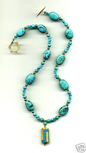 Turquoise and Venetian Glass Pendant