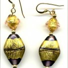 Purple and Gold handmade bead earrings