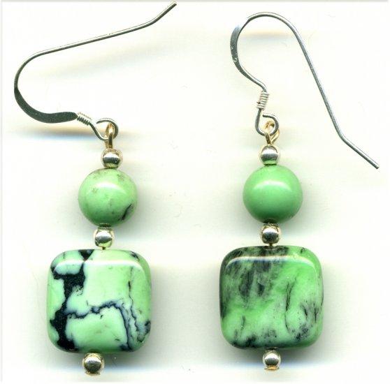 Green Grass Turquoise Earrings