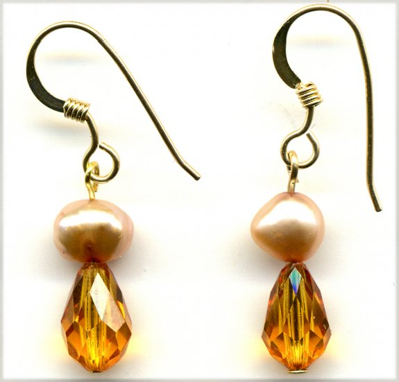 Little Topaz Crystal and Pearl Earrings