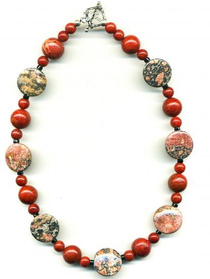 Leopardskin Jasper, Sponge Coral Necklace Necklace