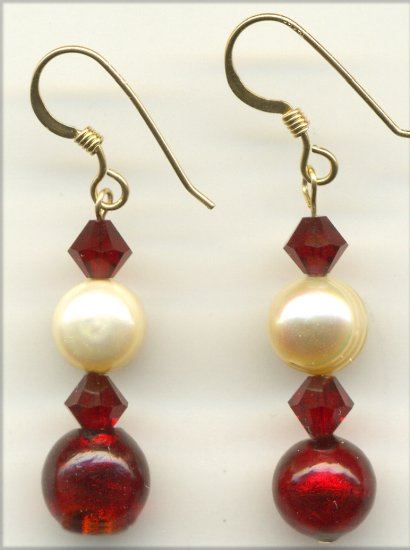 Pearl and red Crystal Earrings