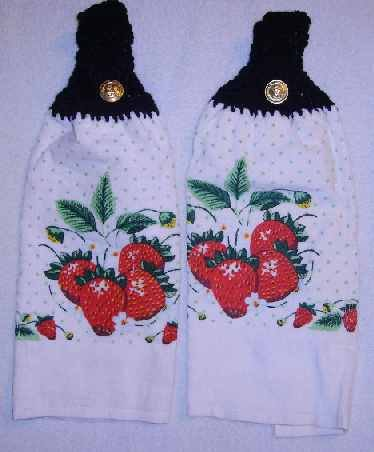 PAIR of Kitchen Hand Towels Strawberry FREE SHIPPING