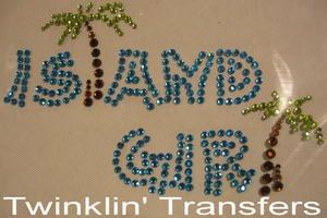 Rhinestone Transfer Hot Fix Iron On PALM ISLAND GIRL