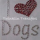 Rhinestone Iron On Transfer I LOVE HEART DOGS