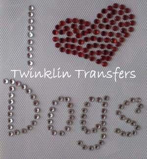 Rhinestone Iron On Transfer I LOVE HEART DOGS