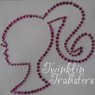 Rhinestone Iron On Transfer BARBIE GIRL FUSCHIA PINK