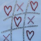 Rhinestone Transfer Hot Fix Iron On HEART TIC TAC TOE