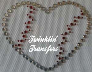 Rhinestone Transfer Iron On LOVE BASEBALL HEART