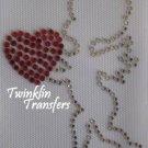 Rhinestone Hot Fix Iron Transfer CUPID VALENTINE HEART