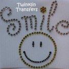Rhinestone Hot Iron On Transfer RETRO SMILE HAPPY FACE