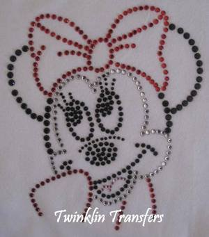Rhinestone Hot Fix Iron On Transfer MINNIE MOUSE RED