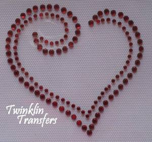 Rhinestone Hot Fix Iron On Transfer VALENTINE HEART RED