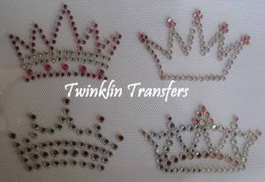 Rhinestone Hot Fix Iron On Transfer 4 MINI CROWNS PINK