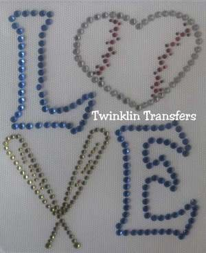 Rhinestone Iron On Transfer LOVE BASEBALL BATS HEART