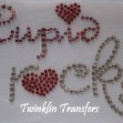 Rhinestone Hot Fix Iron On Transfer CUPID ROCKS HEARTS