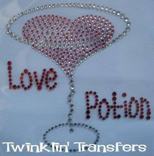 Rhinestone Transfer Hot Fix Iron On HEART LOVE MARTINI