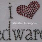 Rhinestone Transfer Iron On TWILIGHT I HEART EDWARD