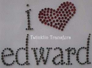 Rhinestone Transfer Iron On TWILIGHT I HEART EDWARD
