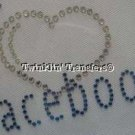 Rhinestone Transfer Iron On I LOVE HEART FACEBOOK FB