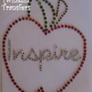 Rhinestone Hot Fix Iron Transfer TEACHER APPLE INSPIRE