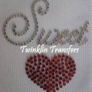 Rhinestone Hot Fix Iron On Transfer SWEET HEART RED