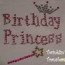 Rhinestone Hot Fix Iron On Transfer BIRTHDAY PRINCESS
