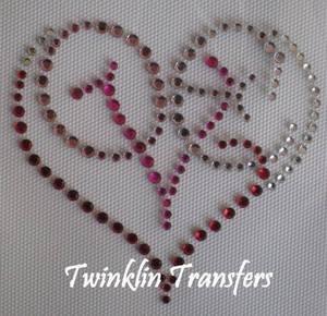 Rhinestone Hot Fix Iron On Transfer LOVE HEART PINK RED