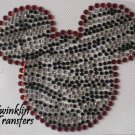 Rhinestone Hot Fix Iron On Transfer ZEBRA MICKEY RED