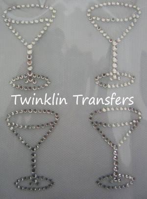 Rhinestone Transfer Hot Fix IronOn MINI MARTINI GLASSES