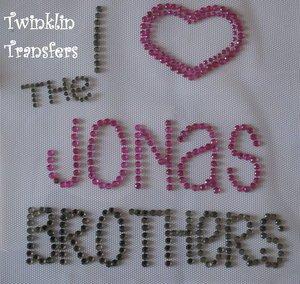 Rhinestone Hot Fix Iron Transfer I HEART JONAS BROTHERS